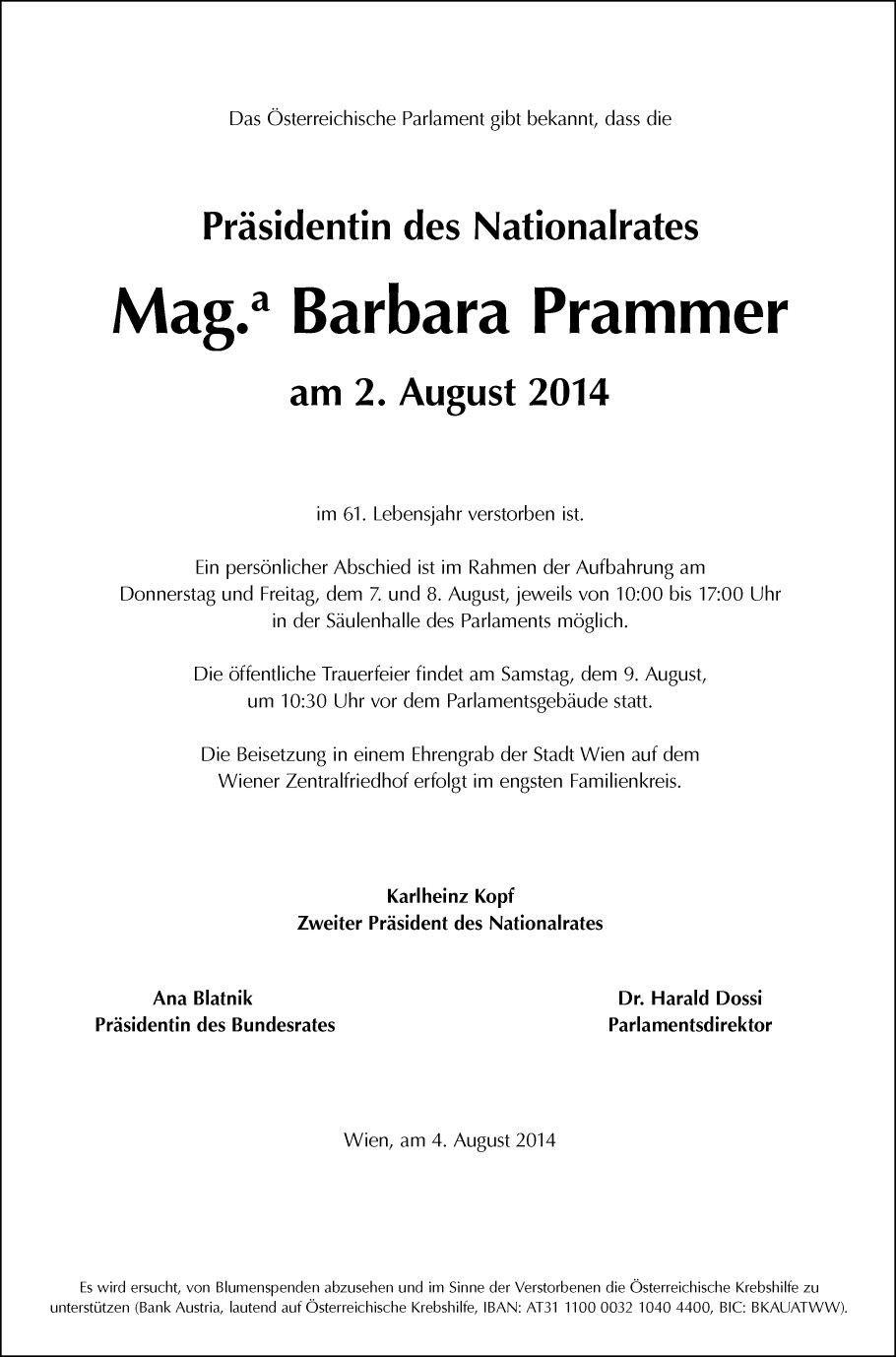 Traueranzeige Von Mag Barbara Pammer Vom 06082014