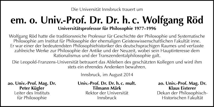Univ.-Prof. Dr. Wolfgang Röd
