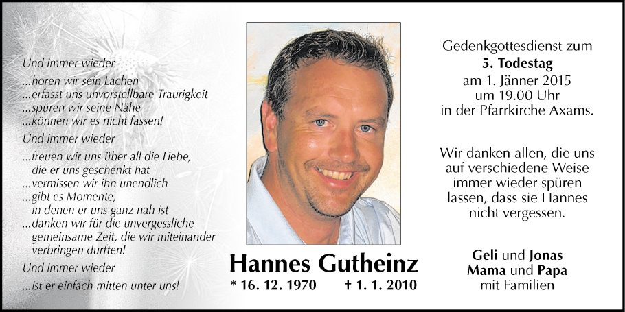 Traueranzeige von Hannes Gutheinz vom 30.12.2014