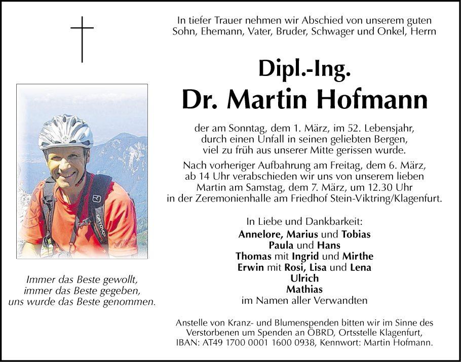 Traueranzeige Von Dr Martin Hofmann Vom 05 03 2015