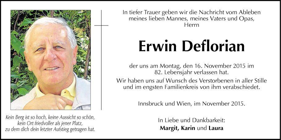 Traueranzeige Von Erwin Deflorian Vom 23112015