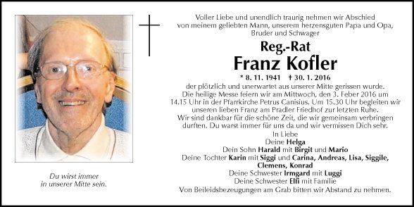 Traueranzeigen tiroler tageszeitung online for Franz kofler