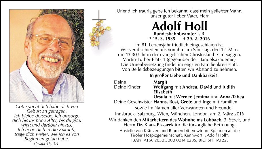Traueranzeige Von Adolf Holl Vom 09 03 2016