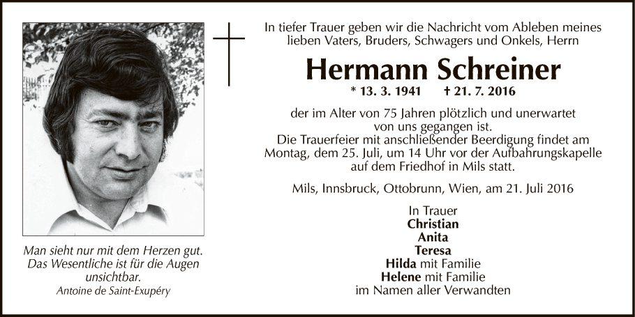 Schreiner Ottobrunn traueranzeige hermann schreiner vom 23 07 2016