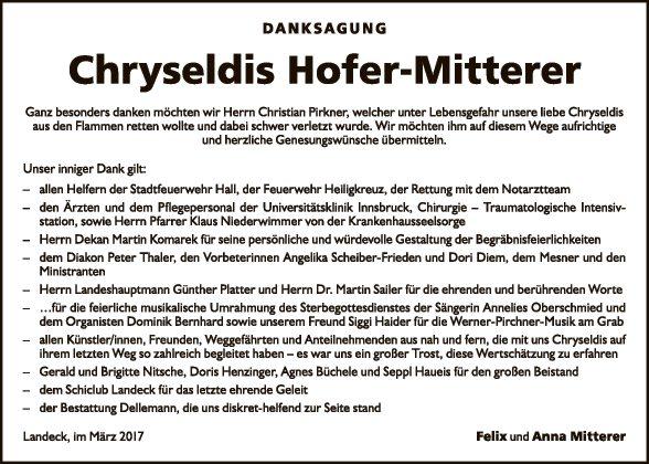 Chryseldis Hofer- Mitterer