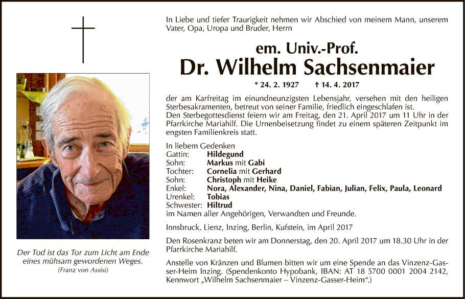 em. Univ.-Prof. Dr. Wilhelm Sachsenma