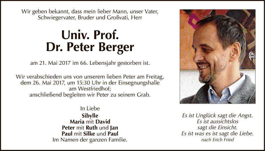 Traueranzeige Von Univ. Prof. Dr. Peter Berger Vom 24.05.2017