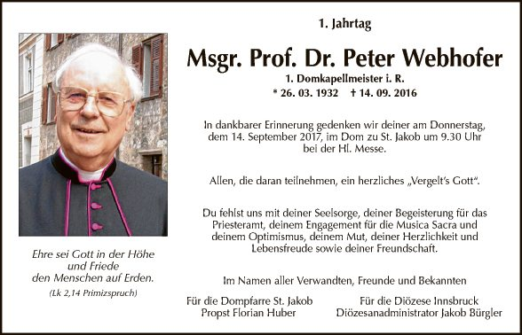 Msgr. Dr. Peter Webhofer