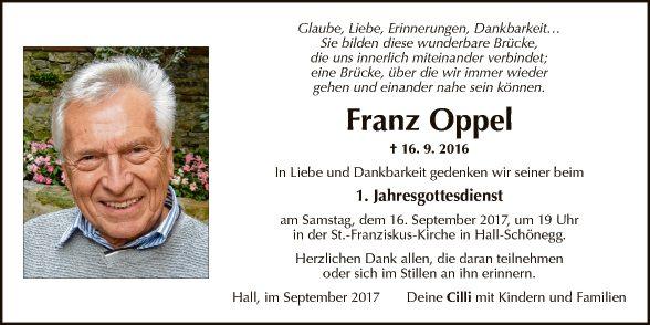 Jahrtag Franz Oppel