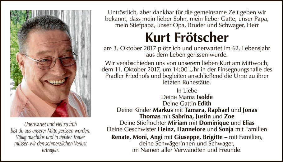 Traueranzeige Von Kurt Frötscher Vom 07102017