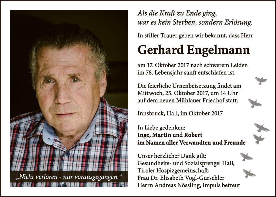 Traueranzeige Von Gerhard Engelmann Vom 21 10 2017