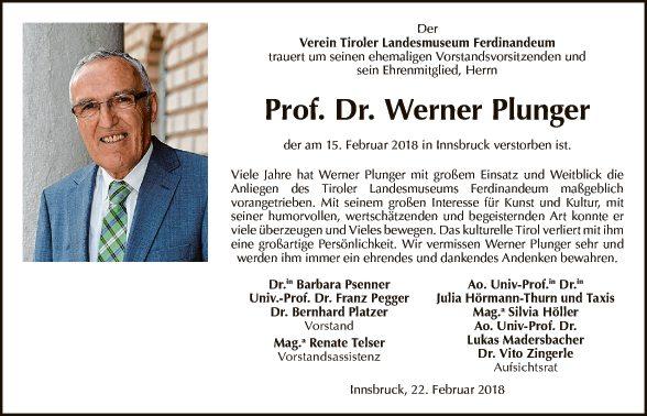 Prof. Dr. Werner Plunger