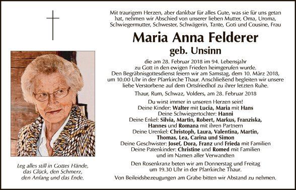 Maria Anna Felderer