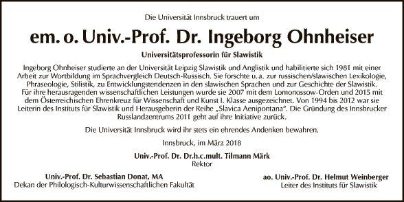 Univ.-Prof. Dr. Ingeborg Ohnheiser