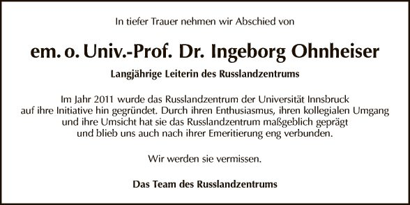 Prof. Ingeborg Ohnheiser