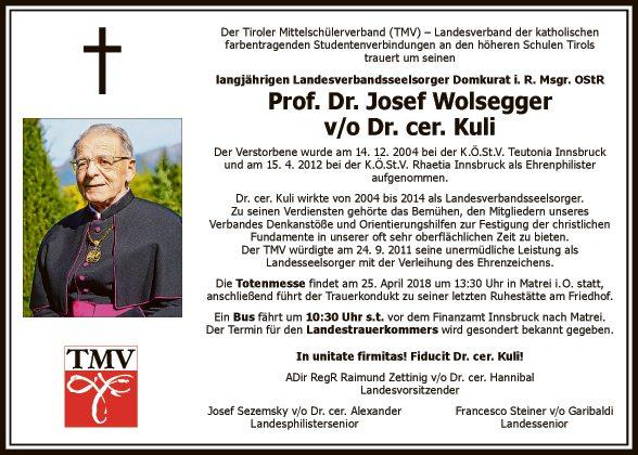 Prof. Dr. Josef Wolsegger