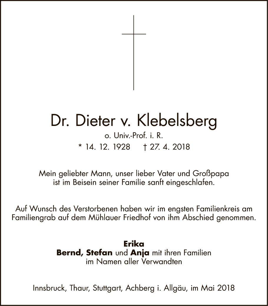 Dr. Dieter v. Klebelsberg