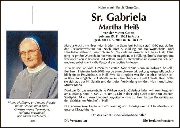 Sr. Gabriela Martha Heiß