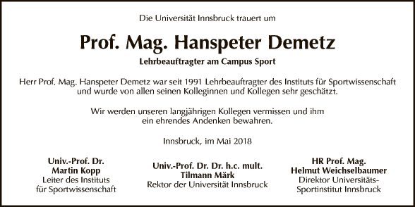 Prof. Mag. Hanspeter Demetz