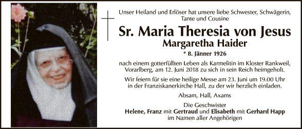 Sr. Maria Theresia von Jesus