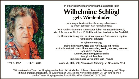 Wilhelmine Schlögl