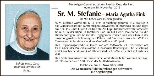 Sr. M. Stefanie - Maria Agatha Fink