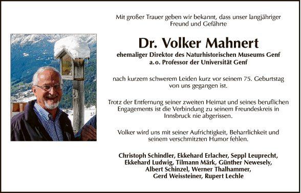 Univ.Professor Dr. Volker Mahnert