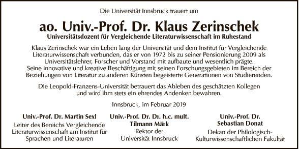 Dr. Klaus Zerinschek