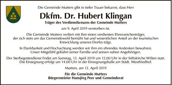Dr. Dkfm. Hubert Klingan