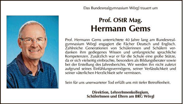 Prof. OStR Mag. Hermann Gems