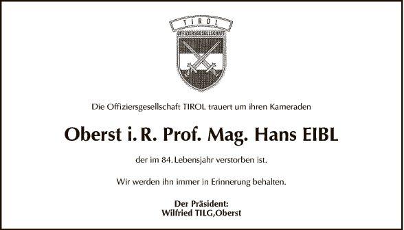 Prof. Mag. Hans Eibl
